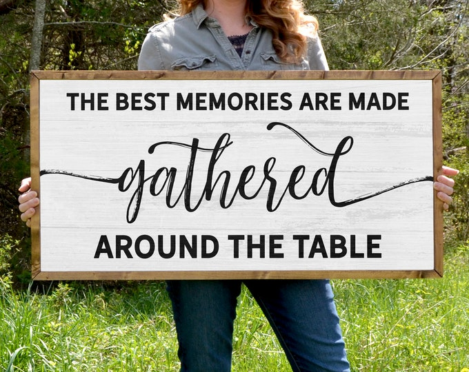 """The Best Memories are Made Gathered Around the Table Rustic 36""""x18"""" Dinning Room Sign Wooden Framed Canvas Print"""