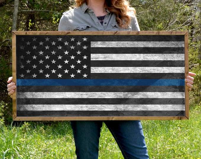 """Thin Blue Line 36""""x18"""" Large Black and White American Flag Rustic Wooden Framed Canvas Wall Art"""