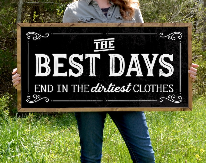 "The Best Days End in the Dirtiest Clothes 36""x18"" Black Vintage Laundry Room Sign Wooden Framed Canvas Print"