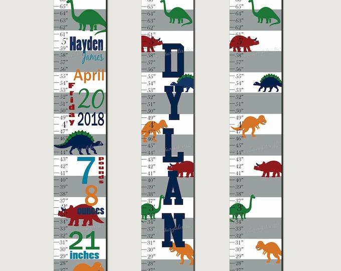 Dinosaur Canvas Growth Chart Height Chart Ruler