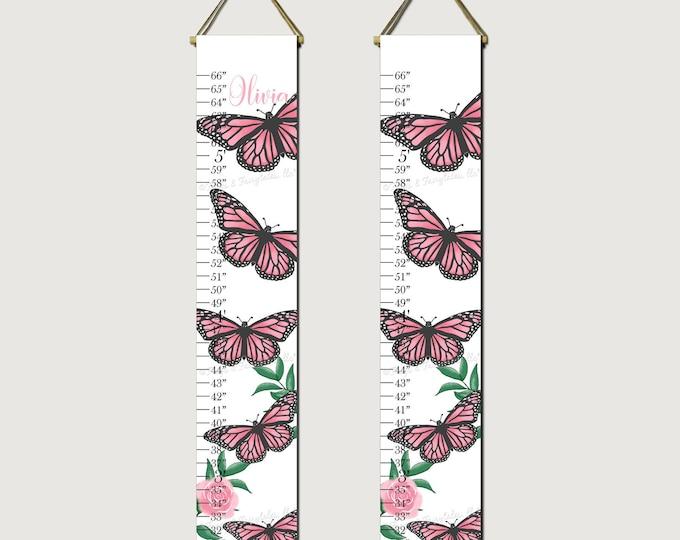 Butterflies Pink Growth Chart Height Chart Ruler