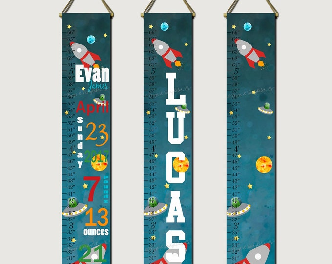 Outer Space Rocketship Canvas Growth Chart Height Chart Ruler