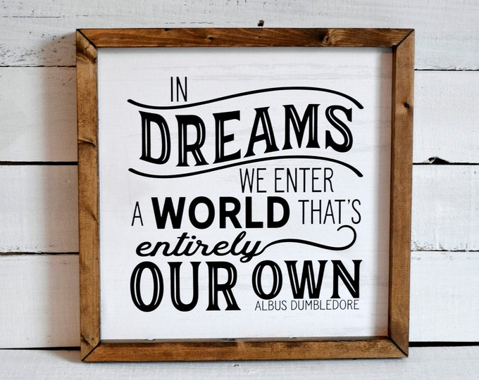 In Dreams We Enter a World That's Entirely Our Own Rustic Black and White Wooden Framed Canvas Wall Art