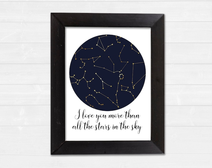 I Love You More Than All The Stars In The Sky Constellations Nursery Digital Download