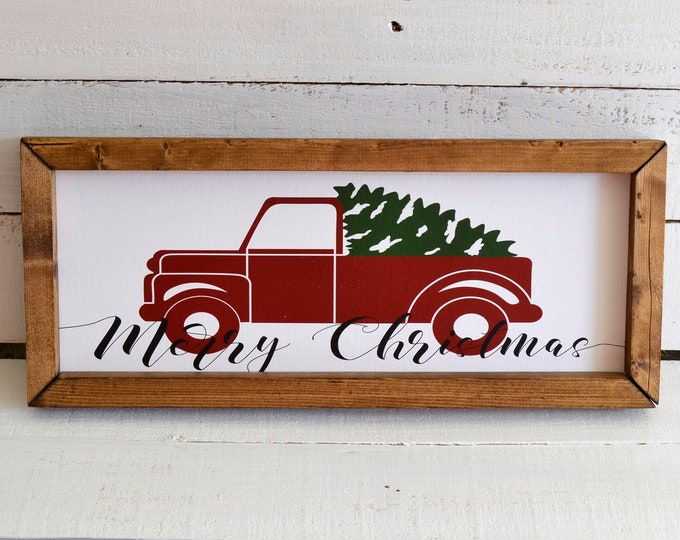 Merry Christmas Red Truck and Pine Tree Wooden Framed Canvas Print