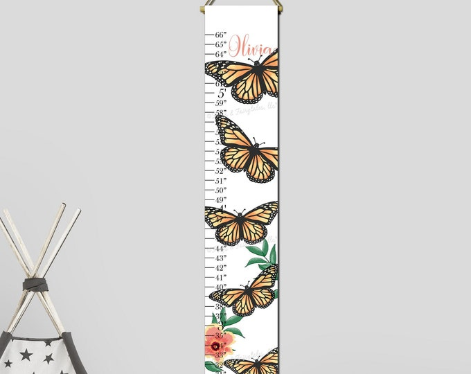 Monarch Butterflies Canvas Growth Chart Height Chart Ruler