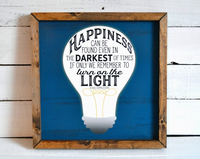 Happiness Can Be Found Even in the Darkest of Times Rustic Blue and White Wooden Framed Canvas Wall Art
