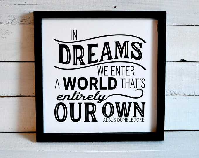 In Dreams We Enter a World That's Entirely Our Own Black and White Wooden Framed Canvas Wall Art