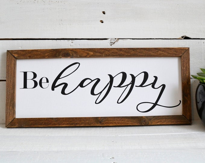 Be Happy Wooden Framed Canvas Framed Print
