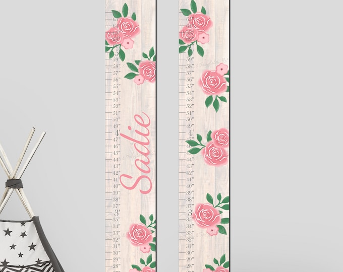 Pink Flowers Roses and Wood Canvas Growth Chart Height Chart Ruler