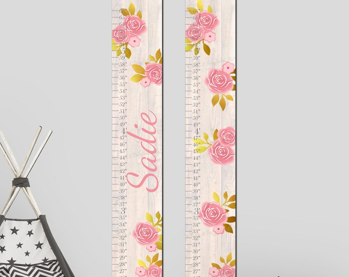 Pink and Gold Flowers Roses and Wood Canvas Growth Chart Height Chart Ruler