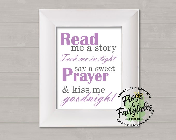 Read Me A Story Tuck Me In Tight Say A Sweet Prayer And Kiss Me Goodnight Purple and Gray Typography Digital Download