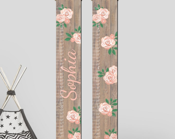Coral Flowers Roses and Wood Canvas Growth Chart Height Chart Ruler