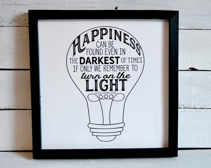 Happiness Can Be Found Even n the Darkest of Times Black and White Wooden Framed Canvas Wall Art