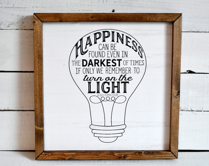 Happiness Can Be Found Even n the Darkest of Times Rustic Black and White Wooden Framed Canvas Wall Art