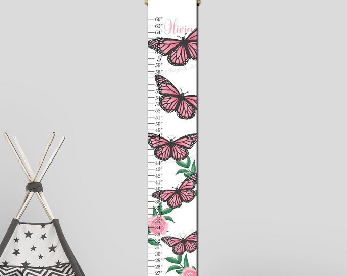 Monarch Butterflies Pink and Gray Canvas Growth Chart Height Chart Ruler