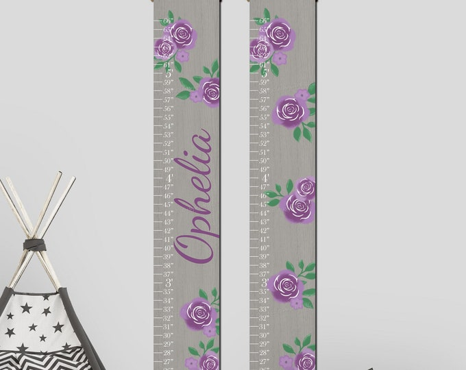 Purple Flowers Roses and Wood Canvas Growth Chart Height Chart Ruler
