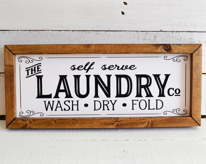The Laundry Co Vintage Laundry Room Sign Wooden Framed Canvas Print
