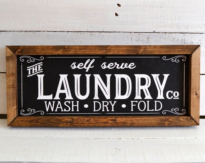 The Laundry Co Vintage Black Laundry Room Sign Wooden Framed Canvas Print