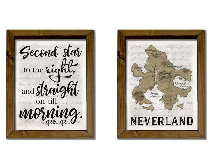 Neverland Map Second Star to the Right Wooden Framed Canvas Print Set