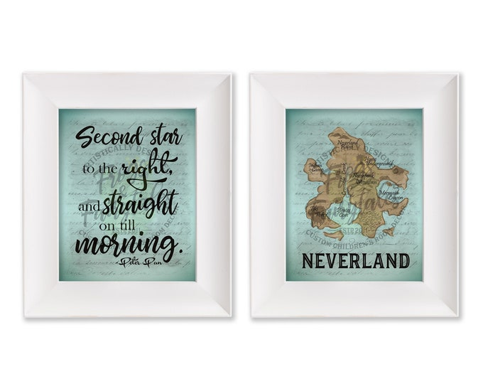 Second Star to the Right Neverland Map Print Set Digital Download