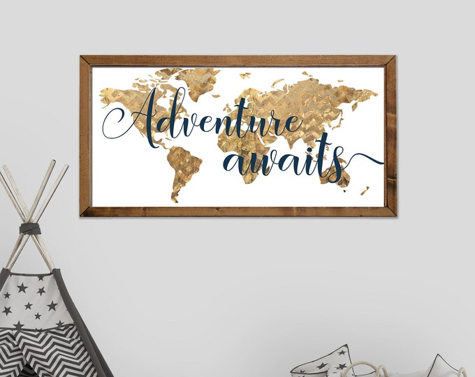 Adventure Awaits Navy and Gold World Map Canvas Wall Art Sign