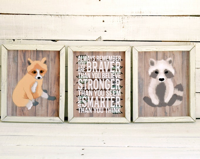 Woodland Nature Fox and Raccoon Wooden Framed Canvas Wall Art Set
