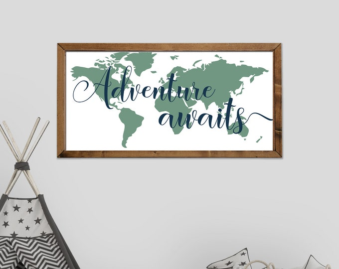 Adventure Awaits Navy and Green World Map Canvas Wall Art Sign