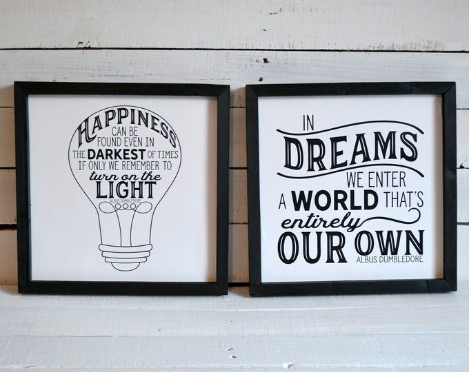 Happiness Can Be Found and In Dream We Enter Inspirational Quotes Black and White Wooden Framed Canvas Print Set