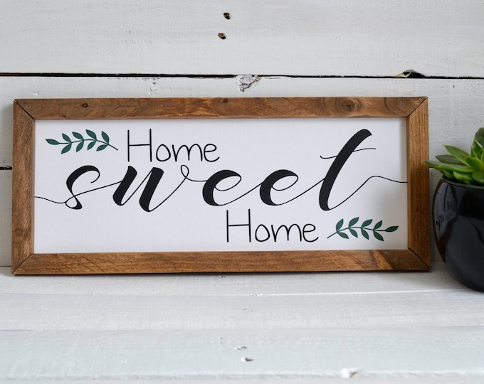 Home Sweet Home Wooden Framed Canvas Print