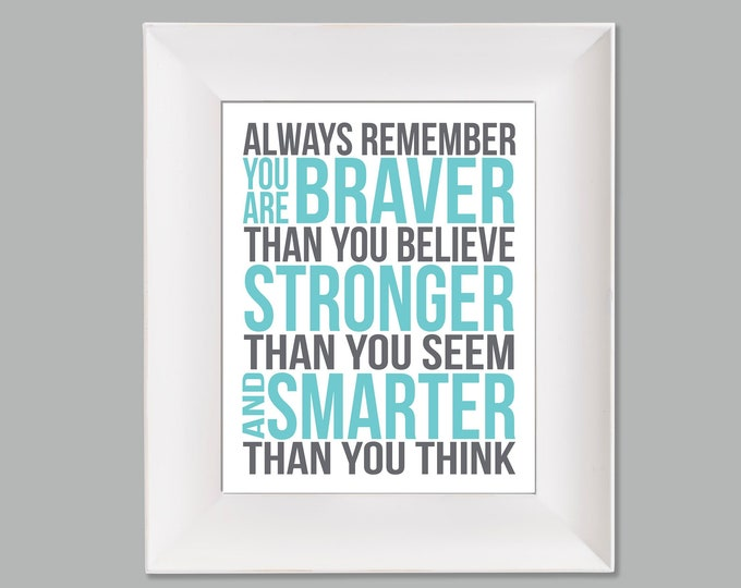 Always Remember Christopher Robin Quote Aqua Grey White Typography Digital Download