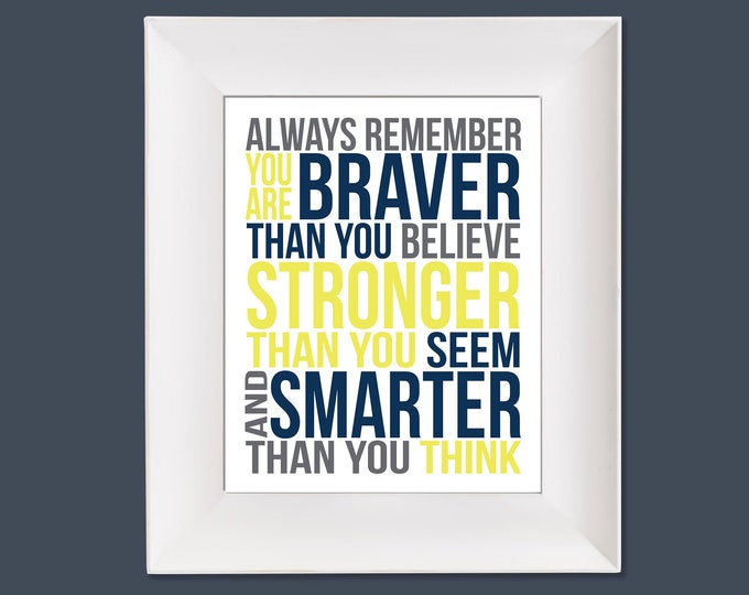 Always Remember Christopher Robin Yellow Navy and Grey Typography Digital Download