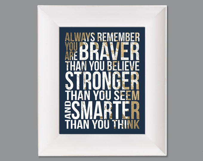 Always Remember Christopher Robin Quote Gold White Navy Typography Digital Download