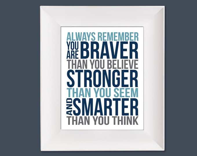 Always Remember Christopher Robin Quote Aqua  Navy Grey White Typography Digital Download