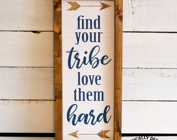 Find Your Tribe Love Them Hard Arrows Rustic Wooden Framed Canvas Wall Art