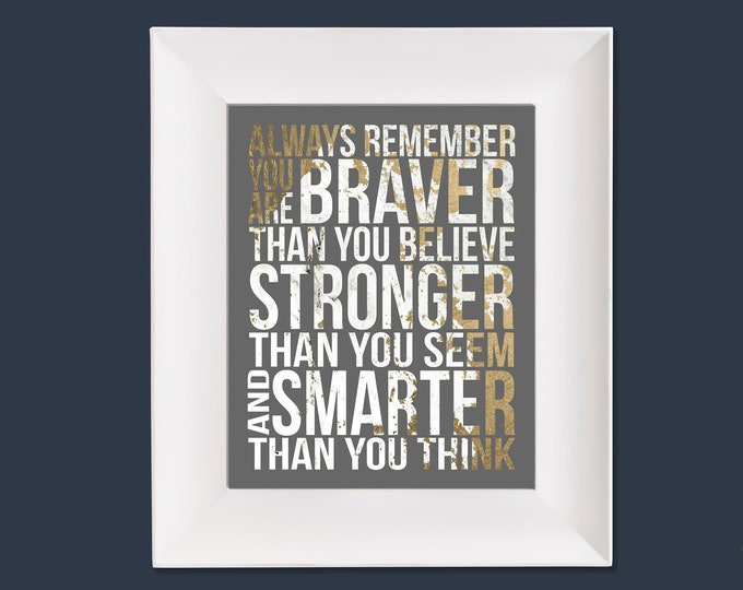 Always Remember Christopher Robin Quote Gold White Grey Typography Digital Download