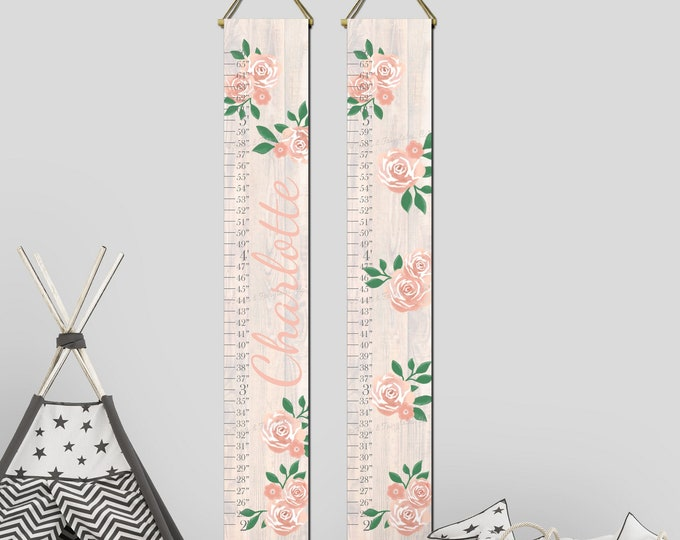 Roses Flowers White Wood Girls Canvas Growth Chart Height Chart Ruler