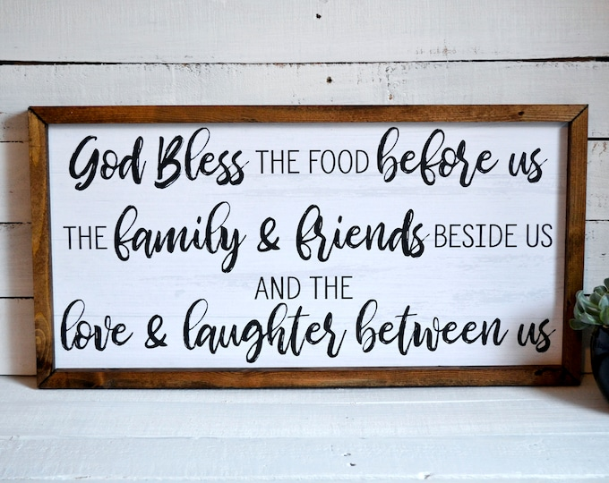 "Bless the Food Before Us Rustic Dinner Prayer 24""x12"" Dinning Room Sign Wooden Framed Canvas Print"