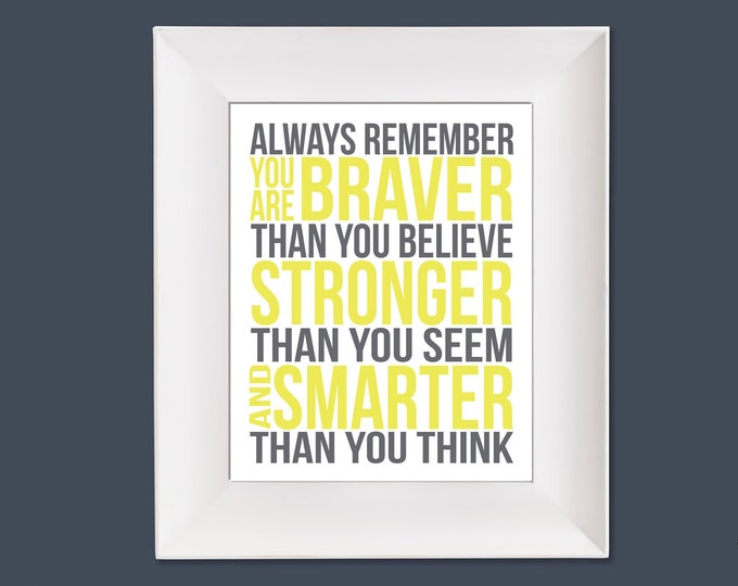 Always Remember Christopher Robin Quote Yellow and Grey Typography Digital Download