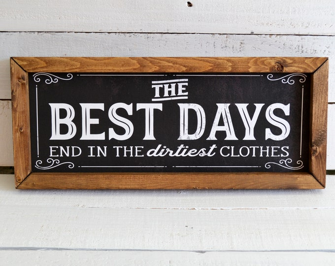 The Best Days End in the Dirtiest Clothes Black Vintage Laundry Room Sign Wooden Framed Canvas Print