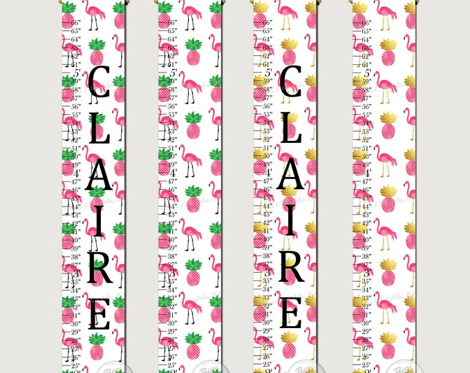Flamingo and Pineapple Tropical Canvas Growth Chart Height Ruler Print