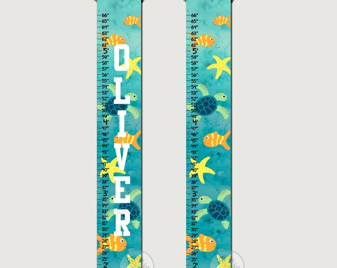 Sea Turtle Ocean Canvas Growth Chart Height Chart Ruler