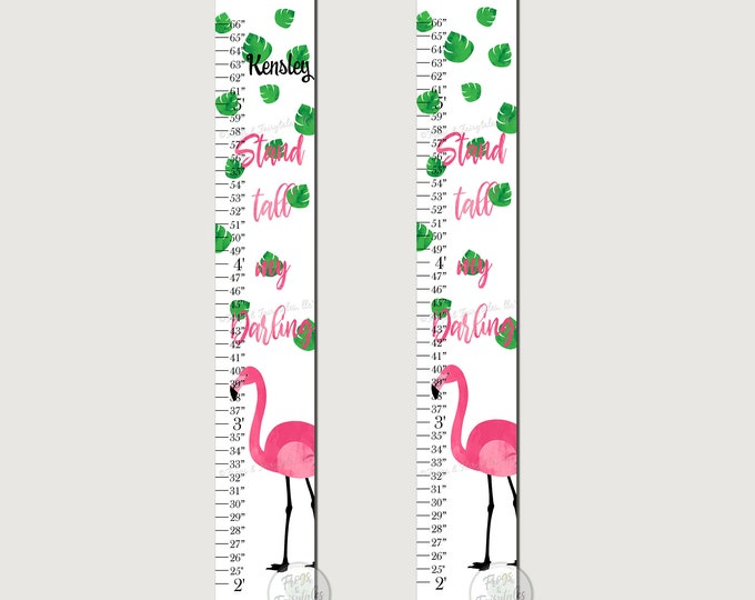 Flamingo Stand Tall My Darling Canvas Growth Chart Print