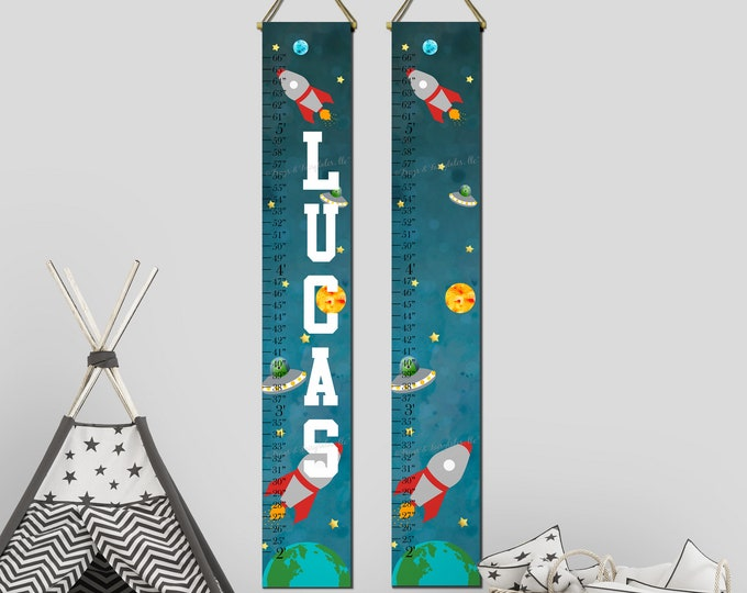 Outer Space Rocketship Canvas Growth Chart Print Ruler