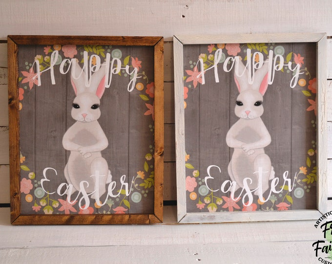 Happy Easter Bunny Spring Wooden Framed Canvas Wall Art