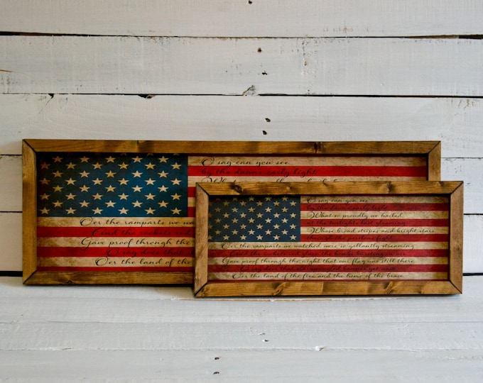 Star Spangled Banner American Flag Wooden Framed Canvas Wall Art