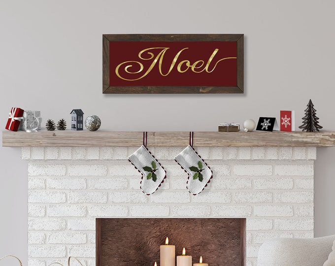 Noel Christmas Red and Gold Foil Wooden Framed Canvas Print