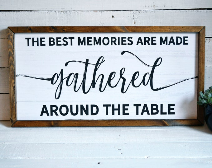 """The Best Memories are Made Gathered Around the Table 24""""x12"""" Rustic Dinning Room Sign Wooden Framed Canvas Print"""