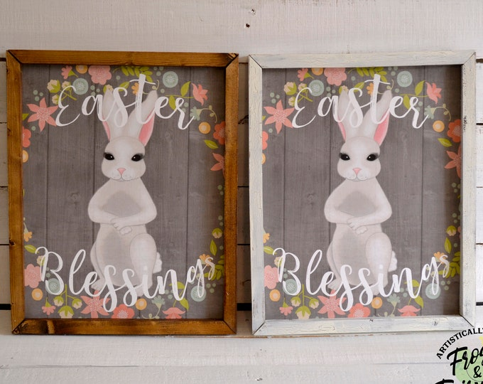 Easter Blessings Easter Bunny Spring Wooden Framed Canvas Wall Art