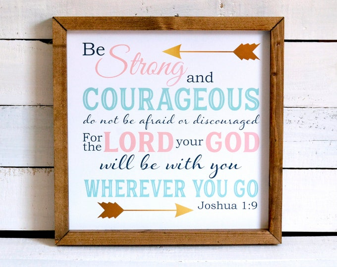 Joshua 1:9 Be Strong and Courageous Coral Mint Green Navy Gold Foil Effect Wood Framed Canvas Wall Art